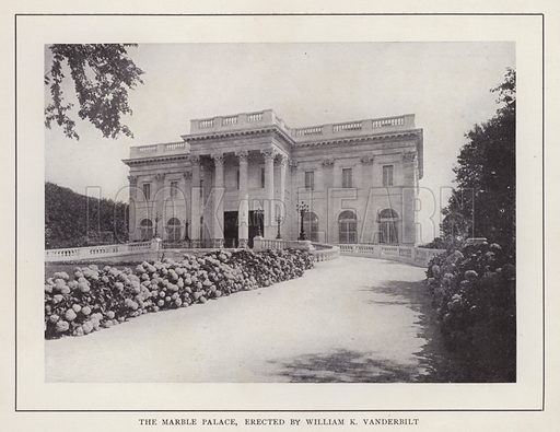 The Marble Palace, erected by William K Vanderbilt. Illustration for souvenir booklet of photographs of Newport, Rhode Island (McMullin and Holmes, c 1900). Note: Very early cars in some pictures.