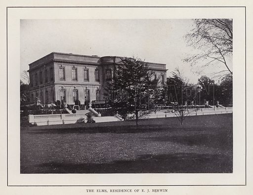 The Elms, Residence of E J Berwin. Illustration for souvenir booklet of photographs of Newport, Rhode Island (McMullin and Holmes, c 1900). Note: Very early cars in some pictures.