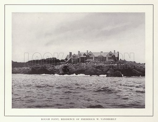 Rough Point, Residence of Frederick W Vanderbilt. Illustration for souvenir booklet of photographs of Newport, Rhode Island (McMullin and Holmes, c 1900). Note: Very early cars in some pictures.