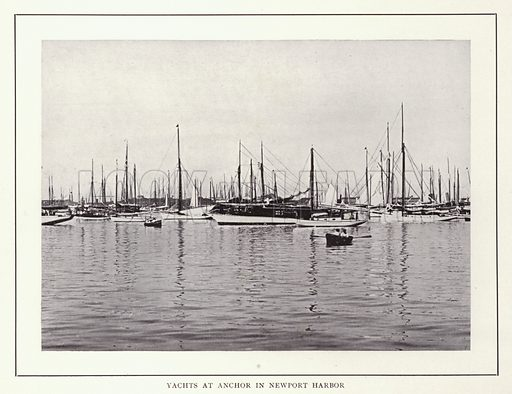 Yachts at Anchor in Newport Harbor. Illustration for souvenir booklet of photographs of Newport, Rhode Island (McMullin and Holmes, c 1900). Note: Very early cars in some pictures.