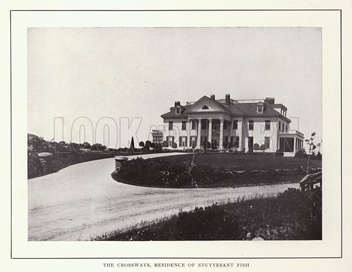 The Crossways, Residence of Stuyvesant Fish. Illustration for souvenir booklet of photographs of Newport, Rhode Island (McMullin and Holmes, c 1900). Note: Very early cars in some pictures.