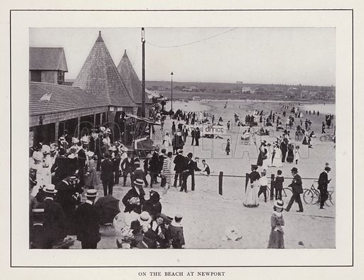 On the Beach at Newport. Illustration for souvenir booklet of photographs of Newport, Rhode Island (McMullin and Holmes, c 1900). Note: Very early cars in some pictures.
