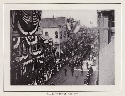 Thames Street on Fete Day. Illustration for souvenir booklet of photographs of Newport, Rhode Island (McMullin and Holmes, c 1900). Note: Very early cars in some pictures.