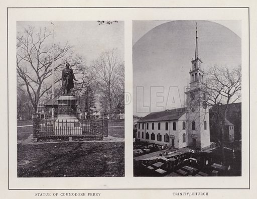 Statue of Commodore Perry; Trinity Church. Illustration for souvenir booklet of photographs of Newport, Rhode Island (McMullin and Holmes, c 1900). Note: Very early cars in some pictures.