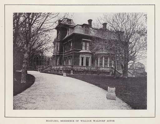 Beaulieu, Residence of William Waldorf Astor. Illustration for souvenir booklet of photographs of Newport, Rhode Island (McMullin and Holmes, c 1900). Note: Very early cars in some pictures.