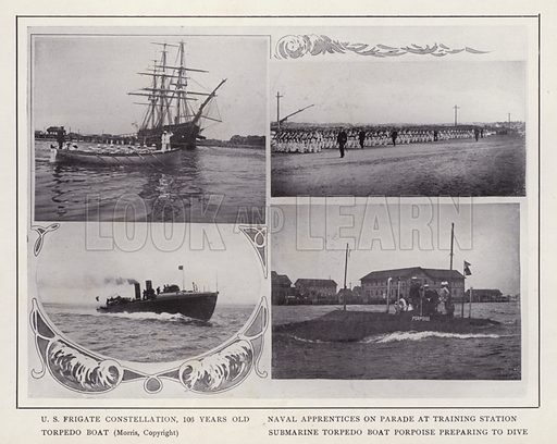 US Frigate Constellation, 106 Years Old; Naval Apprentices on Parade at Training Station; Torpedo Boat; Submarine Torpedo Boat Porpoise preparing to dive. Illustration for souvenir booklet of photographs of Newport, Rhode Island (McMullin and Holmes, c 1900). Note: Very early cars in some pictures.