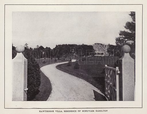 Hawthorne Villa, Residence of Schuyler Hamilton. Illustration for souvenir booklet of photographs of Newport, Rhode Island (McMullin and Holmes, c 1900). Note: Very early cars in some pictures.