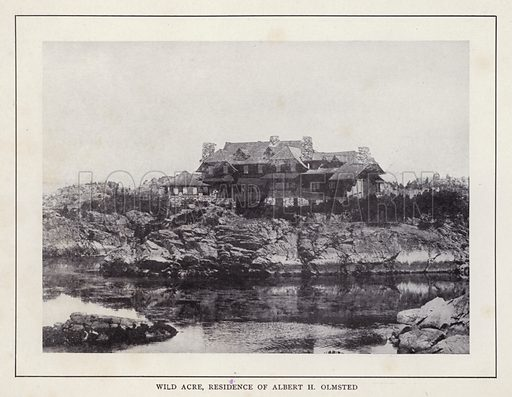 Wild Acre, Residence of Albert H Olmsted. Illustration for souvenir booklet of photographs of Newport, Rhode Island (McMullin and Holmes, c 1900). Note: Very early cars in some pictures.