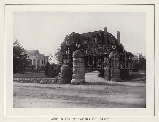 Inchiquin, Residence of Mrs John O'Brien. Illustration for souvenir booklet of photographs of Newport, Rhode Island (McMullin and Holmes, c 1900). Note: Very early cars in some pictures.