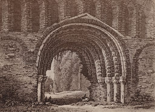 St Botolph's Priory Church (Western Front) 1805. Illustration for booklet of views of Old Colchester (Camulodunum), c 1900.  Gravure printed.