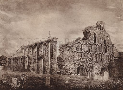 North West View of the Ruins of St Botolph's Priory, from an engraving by A K Glover 1824. Illustration for booklet of views of Old Colchester (Camulodunum), c 1900.  Gravure printed.