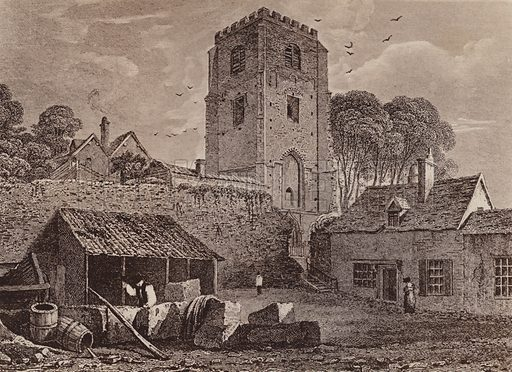 St Marys Church showing the old wall 1824. Illustration for booklet of views of Old Colchester (Camulodunum), c 1900.  Gravure printed.