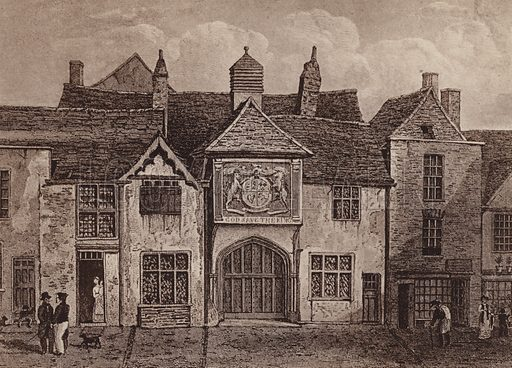 Town Hall (Mote Hall) Colchester 1824. Illustration for booklet of views of Old Colchester (Camulodunum), c 1900.  Gravure printed.