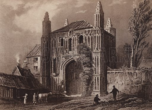 Gateway of St John Abbey, Colchester 1831. Illustration for booklet of views of Old Colchester (Camulodunum), c 1900.  Gravure printed.