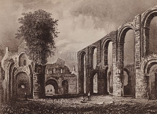 St Botolph's Priory Church Colchester 1831. Illustration for booklet of views of Old Colchester (Camulodunum), c 1900.  Gravure printed.