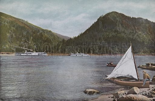 The Upper Columbia River. Illustration for a booklet about Oregon The Land of Opportunity (Portland Chamber of Commerce, 1911).
