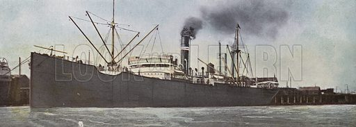 Steamer in Portland Harbor. Illustration for a booklet about Oregon The Land of Opportunity (Portland Chamber of Commerce, 1911).