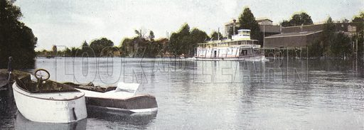 Upper Willamette River at Corvallis. Illustration for a booklet about Oregon The Land of Opportunity (Portland Chamber of Commerce, 1911).
