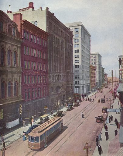 Third Street, Portland. Illustration for a booklet about Oregon The Land of Opportunity (Portland Chamber of Commerce, 1911).
