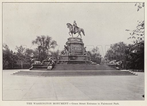 The Washington Monument, Green Street Entrance to Fairmount Park. Illustration for Fifty Glimpses of Philadelphia and Vicinity (Rand McNally, 1898).