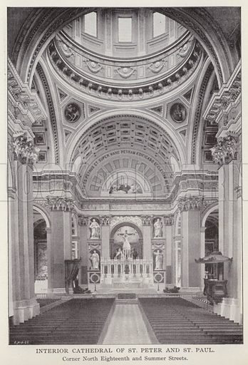 Interior Cathedral of St Peter and St Paul, Corner North Eighteenth and Summer Streets. Illustration for Fifty Glimpses of Philadelphia and Vicinity (Rand McNally, 1898).