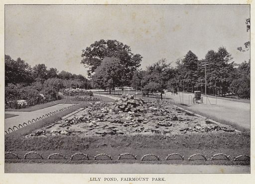 Lily Pond, Fairmount Park. Illustration for Fifty Glimpses of Philadelphia and Vicinity (Rand McNally, 1898).
