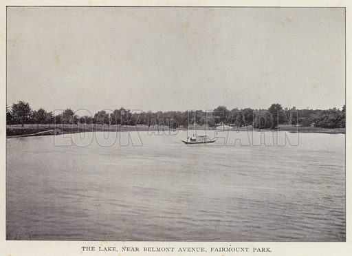 The Lake, near Belmont Avenue, Fairmount Park. Illustration for Fifty Glimpses of Philadelphia and Vicinity (Rand McNally, 1898).
