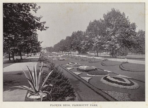 Flower Beds, Fairmount Park. Illustration for Fifty Glimpses of Philadelphia and Vicinity (Rand McNally, 1898).
