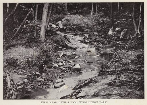 View near Devil's Pool, Wissahickon Park. Illustration for Fifty Glimpses of Philadelphia and Vicinity (Rand McNally, 1898).