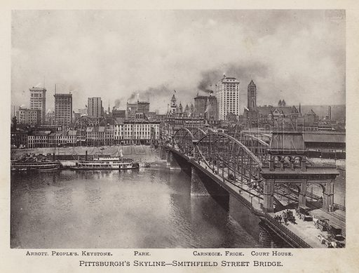 Pittsburgh's Skyline, Smithfield Street Bridge. Illustration for Souvenir of Pittsburgh, Pa (np, c 1895).