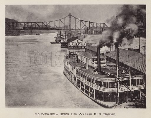 Monongahela River and Wabash RR Bridge. Illustration for Souvenir of Pittsburgh, Pa (np, c 1895).