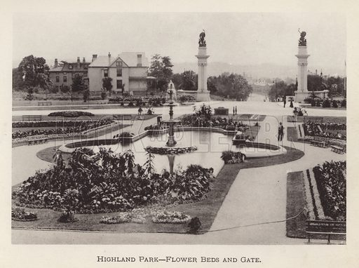 Highland Park, Flower Beds and Gate. Illustration for Souvenir of Pittsburgh, Pa (np, c 1895).