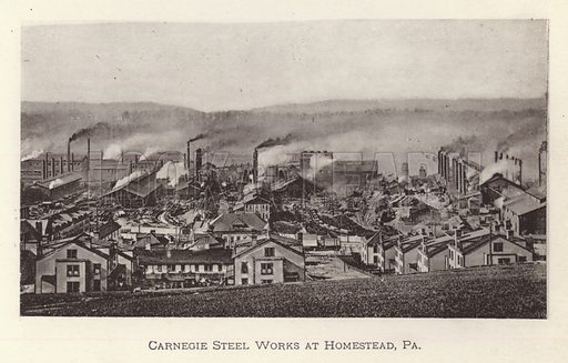 Carnegie Steel Works at Homestead, Pennsylvania. Illustration for Souvenir of Pittsburgh, Pa (np, c 1895).