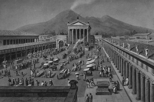 Foro Civile. Illustration for Ricordo de Pompei (np, c 1895).  Contains reconstructions of well-known buildings.  Gravure printed.
