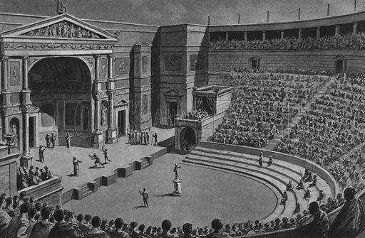 Teatro Tragico. Illustration for Ricordo de Pompei (np, c 1895).  Contains reconstructions of well-known buildings.  Gravure printed.