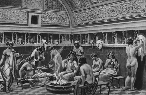 Interno dei Bagni del Foro. Illustration for Ricordo de Pompei (np, c 1895).  Contains reconstructions of well-known buildings.  Gravure printed.