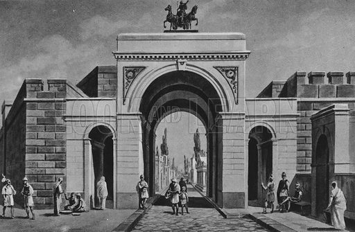 Porta Ercolana. Illustration for Ricordo de Pompei (np, c 1895).  Contains reconstructions of well-known buildings.  Gravure printed.