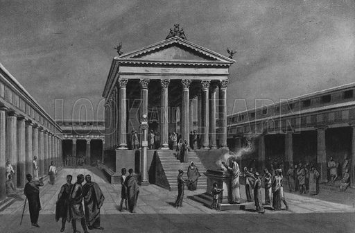Tempio d'Apollo. Illustration for Ricordo de Pompei (np, c 1895).  Contains reconstructions of well-known buildings.  Gravure printed.