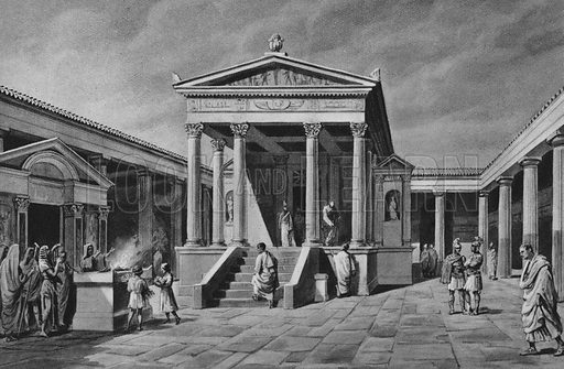 Tempio d'Iside. Illustration for Ricordo de Pompei (np, c 1895).  Contains reconstructions of well-known buildings.  Gravure printed.
