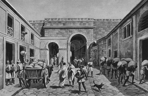 Porta Marina. Illustration for Ricordo de Pompei (np, c 1895).  Contains reconstructions of well-known buildings.  Gravure printed.
