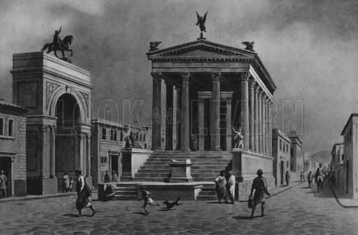 Tempio e strada della Fortuna. Illustration for Ricordo de Pompei (np, c 1895).  Contains reconstructions of well-known buildings.  Gravure printed.