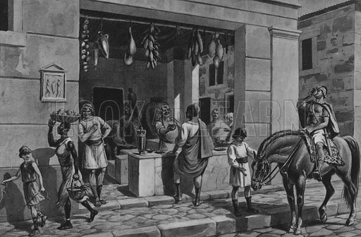 Un fondaco. Illustration for Ricordo de Pompei (np, c 1895).  Contains reconstructions of well-known buildings.  Gravure printed.