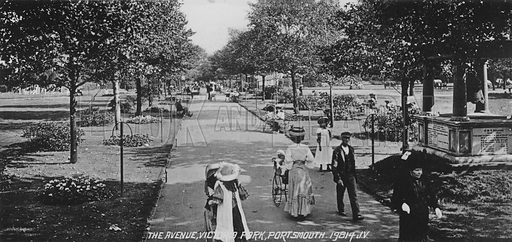 The Avenue, Victoria Park, Portsmouth. Illustration for Photographic View Album of Portsmouth and Southsea (Valentine, c 1895).  Gravure printed.