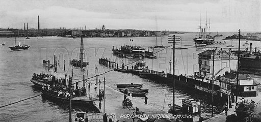Portsmouth Harbour. Illustration for Photographic View Album of Portsmouth and Southsea (Valentine, c 1895).  Gravure printed.