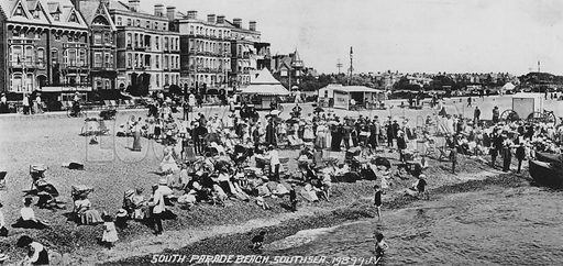 South Parade Beach, Southsea. Illustration for Photographic View Album of Portsmouth and Southsea (Valentine, c 1895).  Gravure printed.