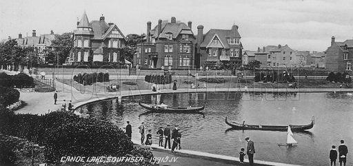 Canoe Lake, Southsea. Illustration for Photographic View Album of Portsmouth and Southsea (Valentine, c 1895).  Gravure printed.