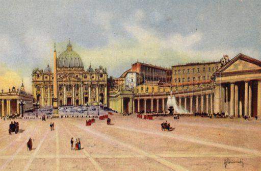 Piazza S Pietro, la Basilica, il Vaticano. Illustration for Ricordo di Roma (Scrocchi, c 1910).  Signatures on pictures illegible.