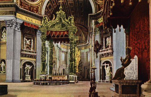 Basilica S Pietro, Interno. Illustration for Ricordo di Roma (Scrocchi, c 1910).  Signatures on pictures illegible.