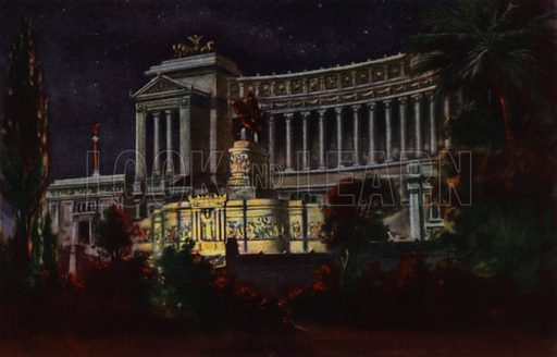 Monumento a Vittorio Emanuele II. Illustration for Ricordo di Roma (Scrocchi, c 1910).  Signatures on pictures illegible.