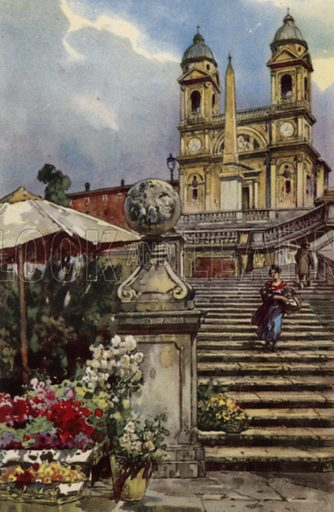 Chiesa della Trinita dei Monti. Illustration for Ricordo di Roma (Scrocchi, c 1910).  Signatures on pictures illegible.